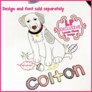 ColorWork Fall Leaves Dog Sketch Machine Embroidery Design File 4x4 5x7 6x10