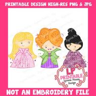 PRINTABLE Design Witch Sisters Trio 2 (NOT an embroidery file)