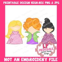 PRINTABLE Design Witch Sisters Trio 1 (NOT an embroidery file)