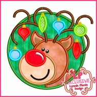 Circle Frame Reindeer Boy with Ornaments 4x4 5x7 6x10 7x11 SVG