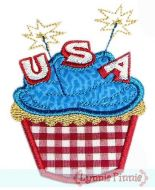 Applique Patriotic Cupcake 4x4 5x7