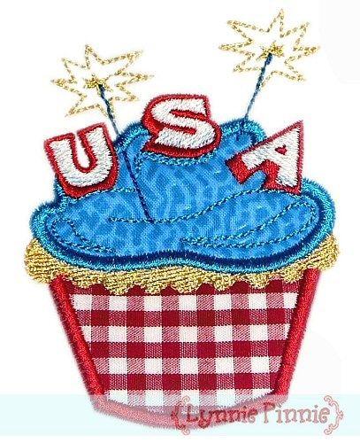 Applique Patriotic Cupcake 4x4 5x7