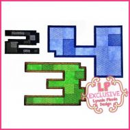 Pixel Block Multicolor Applique Number Set - 3 sizes 4x4 5x7 6x10