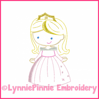 Pink Princess Cutie Colorwork Sketch Embroidery Design 4x4 5x7