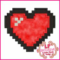 Pixel Heart 2 Applique 4x4 5x7 6x10