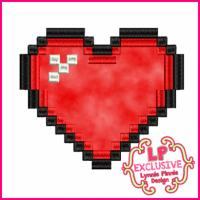 Pixel Heart Applique 4x4 5x7 6x10