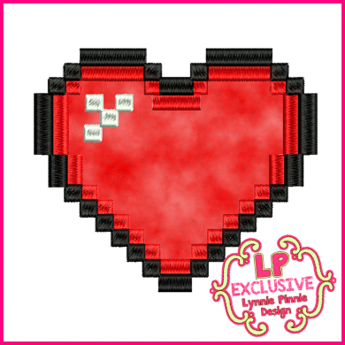 Pixel Heart Applique 4x4 5x7 6x10