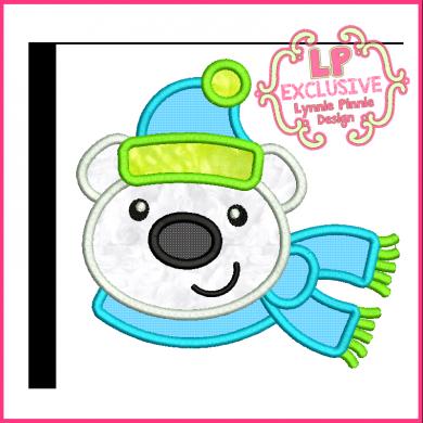 Cute Polar bear w/ Scarf Applique 4x4 5x7 6x10 7x11 SVG