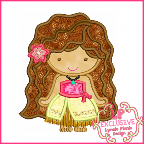 Pretty Polynesian Princess Cutie Applique Design 4x4 5x7 6x10
