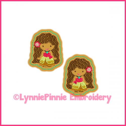 Polynesian Princess Felt Clippie Embroidery Design 4x4