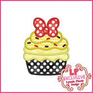 Pretty Bow Cupcake Applique Design 4x4 5x7 6x10