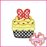 Pretty Bow Cupcake Applique Design 4x4 5x7 6x10