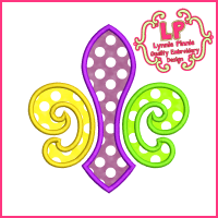 Pretty Fleur de Lis Applique Design 4x4 5x7 6x10 7x11