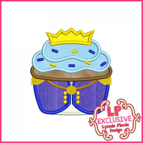 Little Prince Cupcake Applique Design 4x4 5x7 6x10