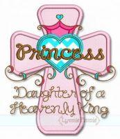 Princess Cross Applique 4x4 5x7 6x10 SVG
