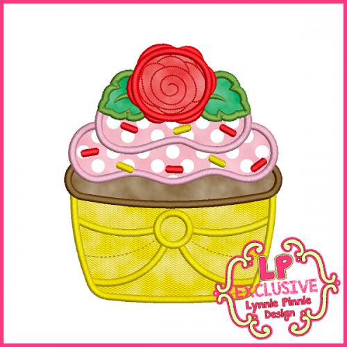 Princess Cupcake 1 Applique Design 4x4 5x7 6x10