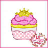 Princess Cupcake 2 Applique Design 4x4 5x7 6x10