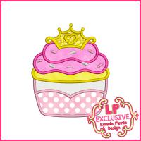 Princess Cupcake 2 Applique Design 4x4 5x7 6x10
