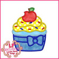 Princess Cupcake 3 Applique Design 4x4 5x7 6x10