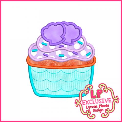 Princess Cupcake 5 Applique Design 4x4 5x7 6x10