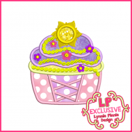 Princess Cupcake 7 Applique Design 4x4 5x7 6x10