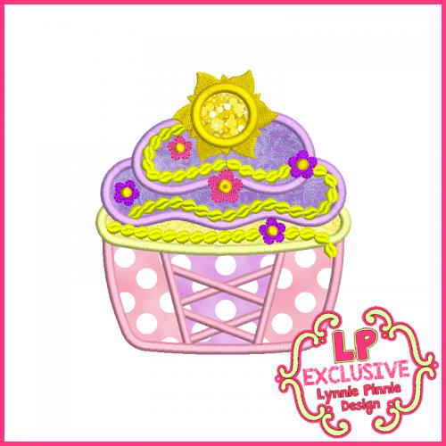 Princess Cupcake 7 Applique Design 4x4 5x7 6x10
