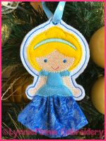 In the Hoop 3D Skirt Princess Christmas Ornament 1 4x4