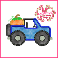 Fall Pumpkin Jeep Applique Embroidery Design 4x4 5x7 6x10 7x11