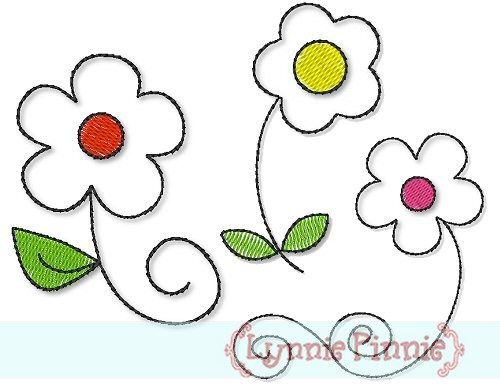 Free Quick Stitch Flower Set 4x4