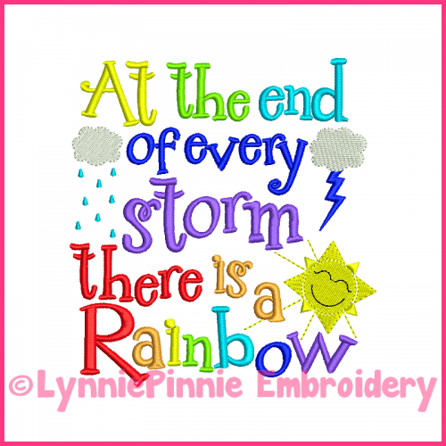 Rainbow Storm Word Art Embroidery Design 4x4 5x7 6x10