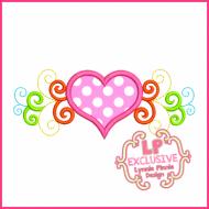 Rainbow Swirl Heart Applique 4x4 5x7 6x10