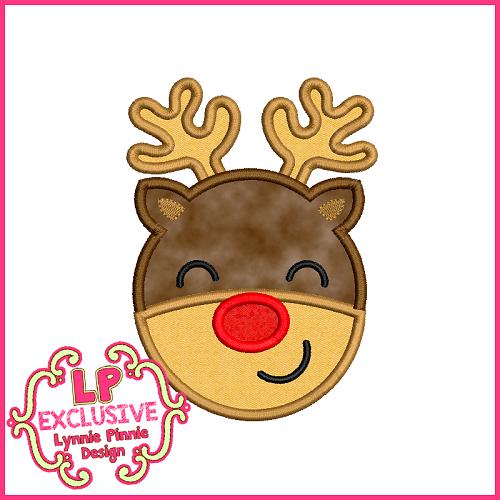 Red Nose Reindeer Applique Design 4x4 5x7 6x10