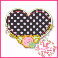 Heart Frame with Rose Applique Design 4x4 5x7 6x10 7x11