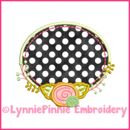 Oval Frame with Rose Applique Design 4x4 5x7 6x10 7x11