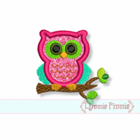 Small Owl on Branch Applique 4x4