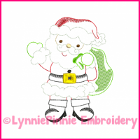 Santa Claus Colorwork Sketch Embroidery Design 4x4 5x7 6x10
