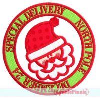 Santa Stamp Applique 4x4 5x7 6x10 7x11 SVG