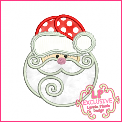 Santa with Swirly Beard Applique 4x4 5x7 6x10 SVG