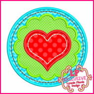 Scallop Circle Heart Applique 4x4 5x7 6x10 7x11