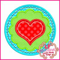 Scallop Circle Heart Applique 4x4 5x7 6x10 7x11