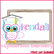 School Owl Colorwork Sketch Embroidery Design 4x4 5x7 6x10