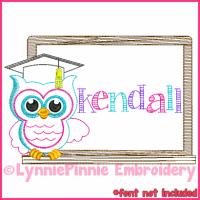 School Owl Colorwork Sketch Embroidery Design 4x4 5x7 6x10