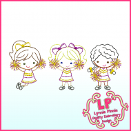 ColorWork Cheerleaders Trio Embroidery Design File 4x4 5x7 6x10