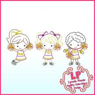 ColorWork Cheerleaders Trio Embroidery Design File 4x4 5x7 6x10