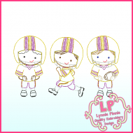 ColorWork Football Players Trio Embroidery Design File 4x4 5x7 6x10