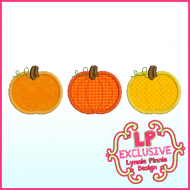 Pumpkin Trio + Single Applique Triple ZigZag Machine Embroidery Design File