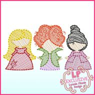 Sketch Fill Witch Sisters Trio Machine Embroidery Design File 4x4 5x7 6x10