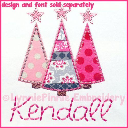 Stitchy Applique Tree Trio Machine Embroidery Design File 4x4 5x7 6x10