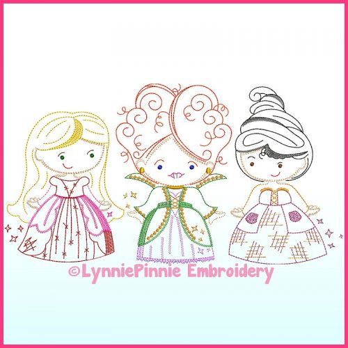 ColorWork Witch Sisters Trio Machine Embroidery Design File 4x4 5x7 6x10