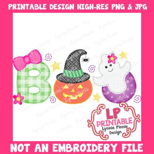 PRINTABLE Design Girly BOO (NOT an embroidery file)